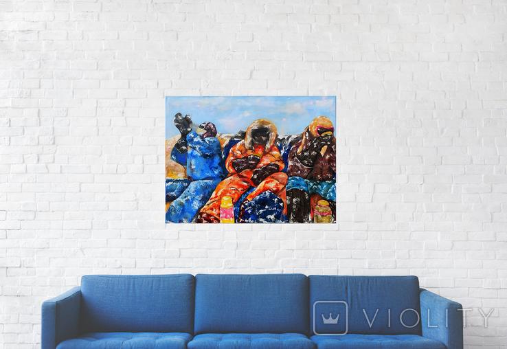 Картина масло-холст 60х80 Полярники, фото №3