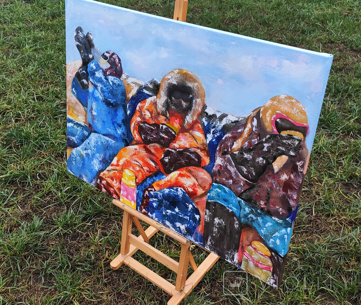 Картина масло-холст 60х80 Полярники, фото №4