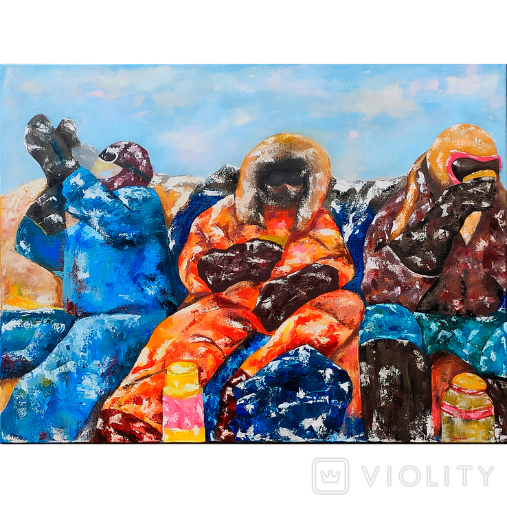 Картина масло-холст 60х80 Полярники, фото №2
