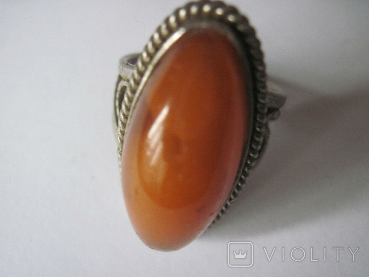 Кольцо природный янтарь мельхиор, фото №2