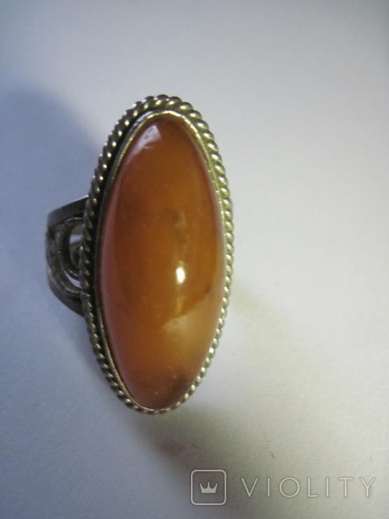 Кольцо природный янтарь мельхиор, фото №4