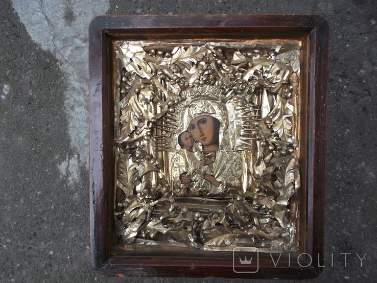 Коронованная Пресвятая Богородица Масло 19 век ., фото №2