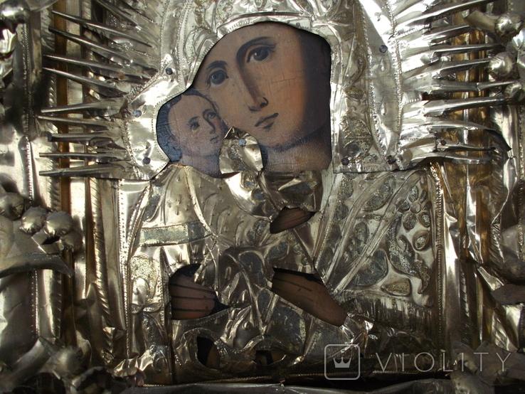 Коронованная Пресвятая Богородица Масло 19 век ., фото №3