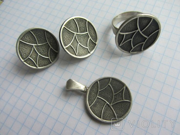 Набор. Серьги, кольцо, кулон., фото №2