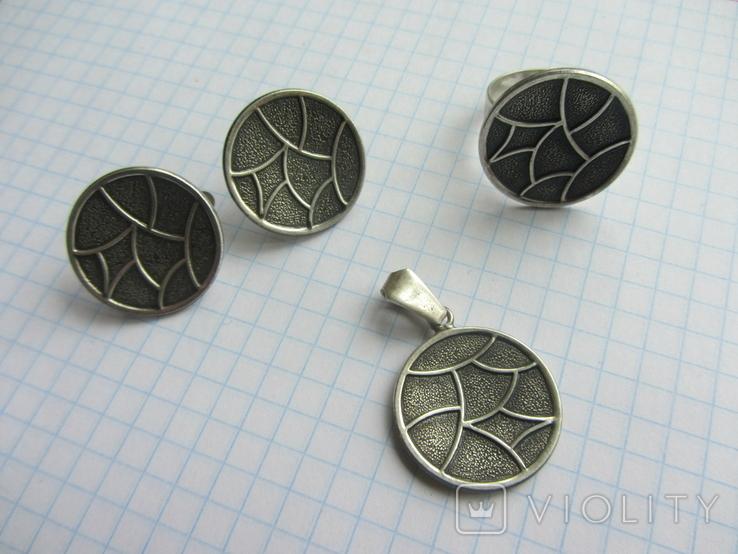 Набор. Серьги, кольцо, кулон., фото №4