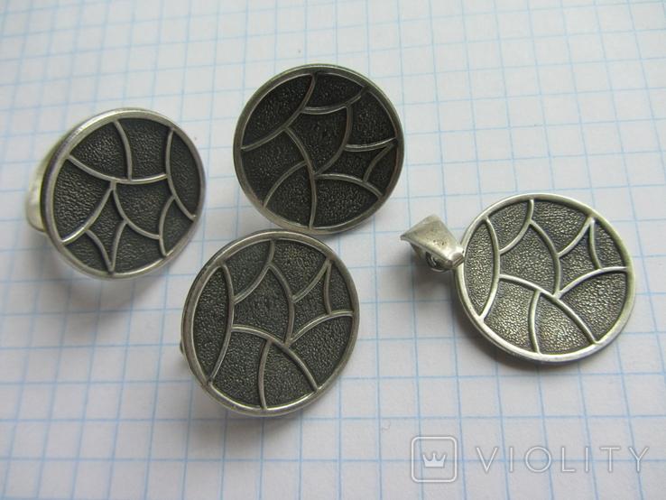 Набор. Серьги, кольцо, кулон., фото №6