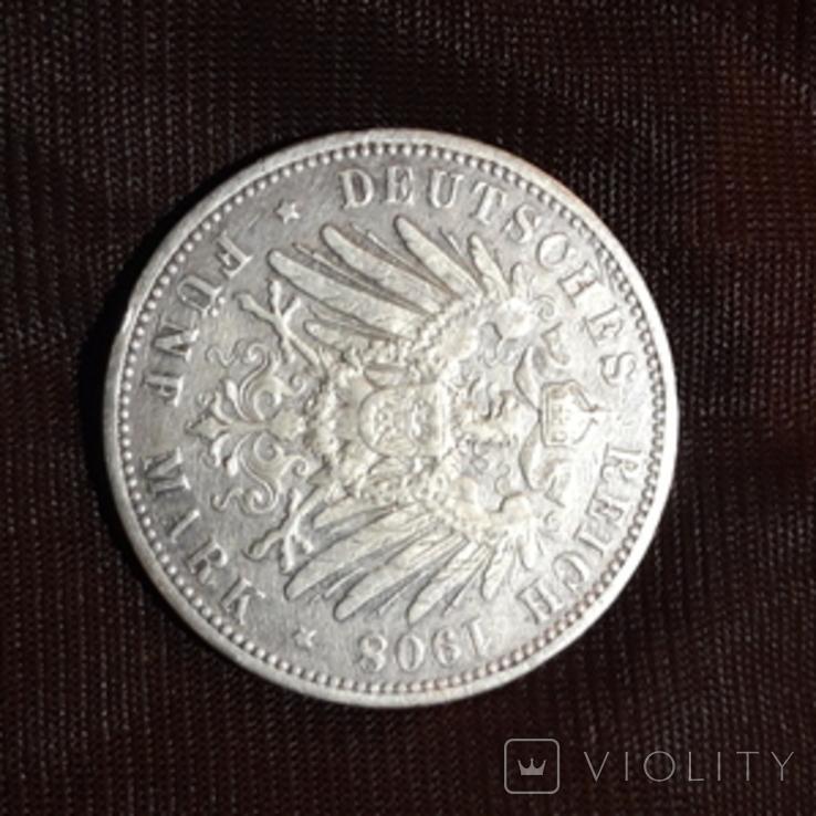 5 марок 1908 Вильгельм, фото №3