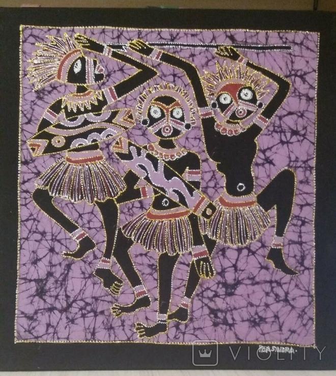 Картина на ткани (батик) - африканская тема, фото №3