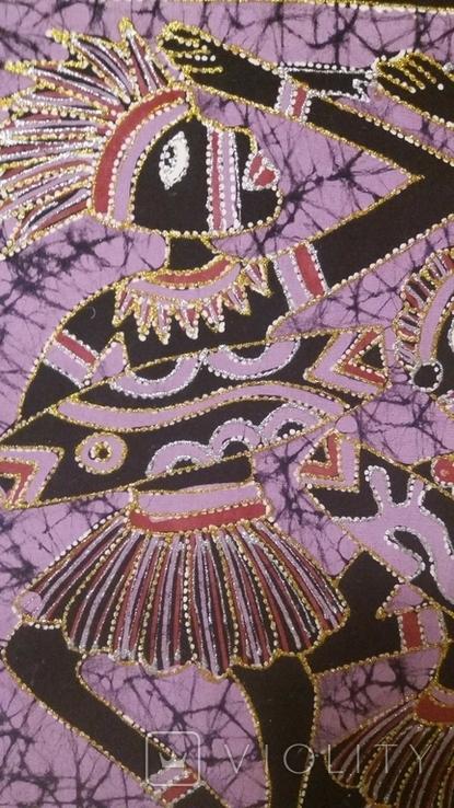 Картина на ткани (батик) - африканская тема, фото №5