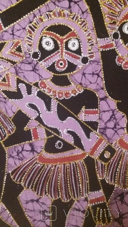 Картина на ткани (батик) - африканская тема, фото №6