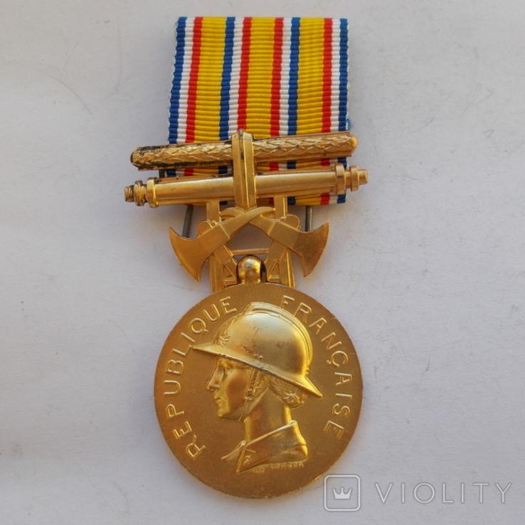 Франция. Медаль пожарных. 1 ст. образца 1935 г., фото №2