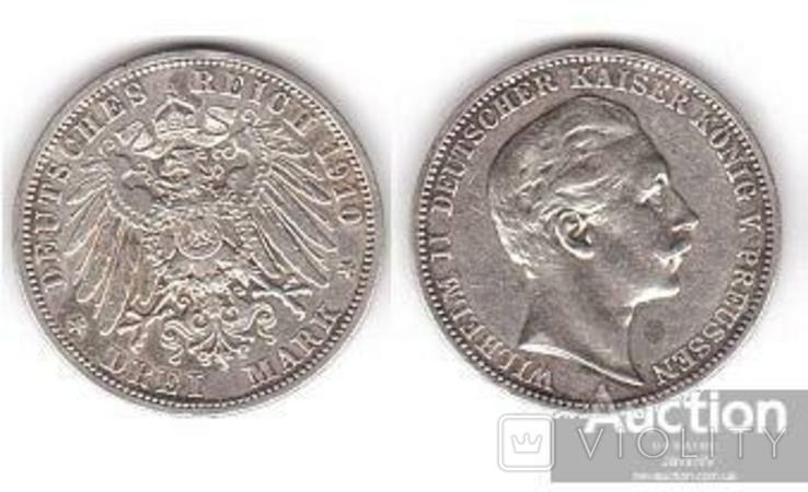 Germany / Prussia Германия Пруссия - 3 Mark 1910 серебро