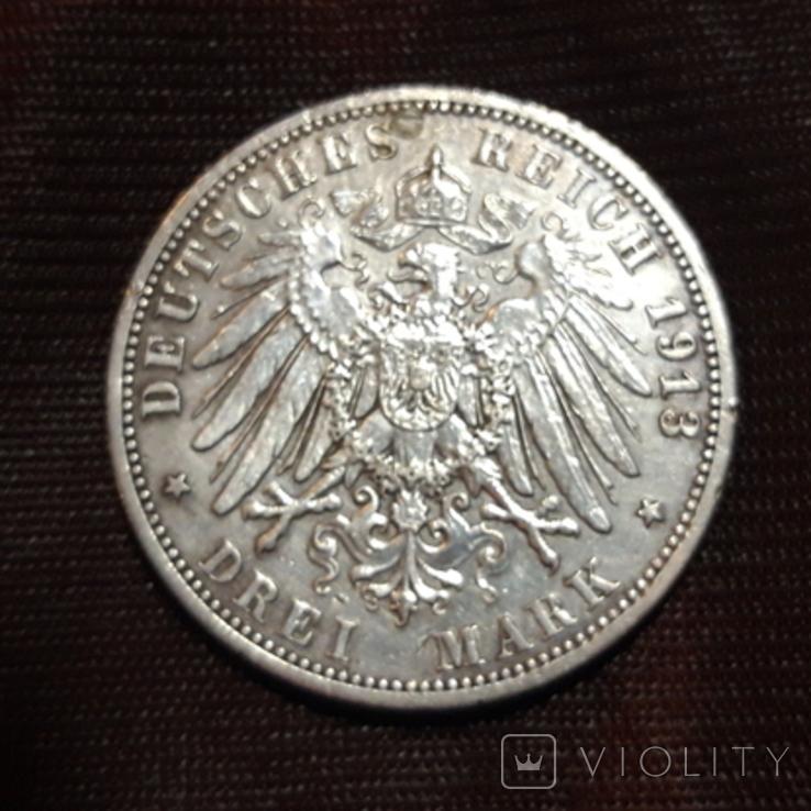 3 марки 1913 Вильгельм, фото №3