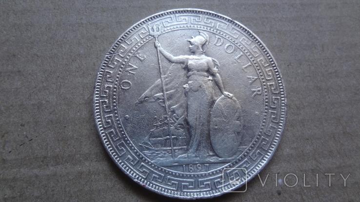 1 торговый доллар 1897 Великобритания серебро (9.11.12), фото №2