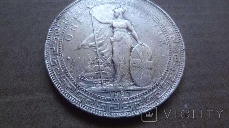 1 торговый доллар 1897 Великобритания серебро (9.11.12), фото №4