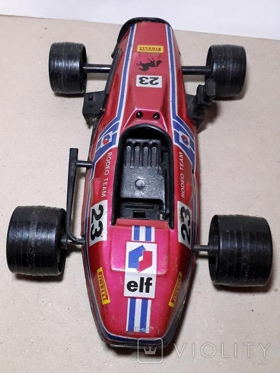 Игрушка СССР Автомобиль инерционный,болид Феррари гоночный ,длина 24 см., фото №3