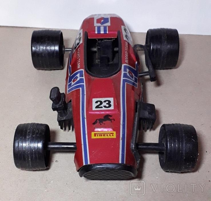 Игрушка СССР Автомобиль инерционный,болид Феррари гоночный ,длина 24 см., фото №4