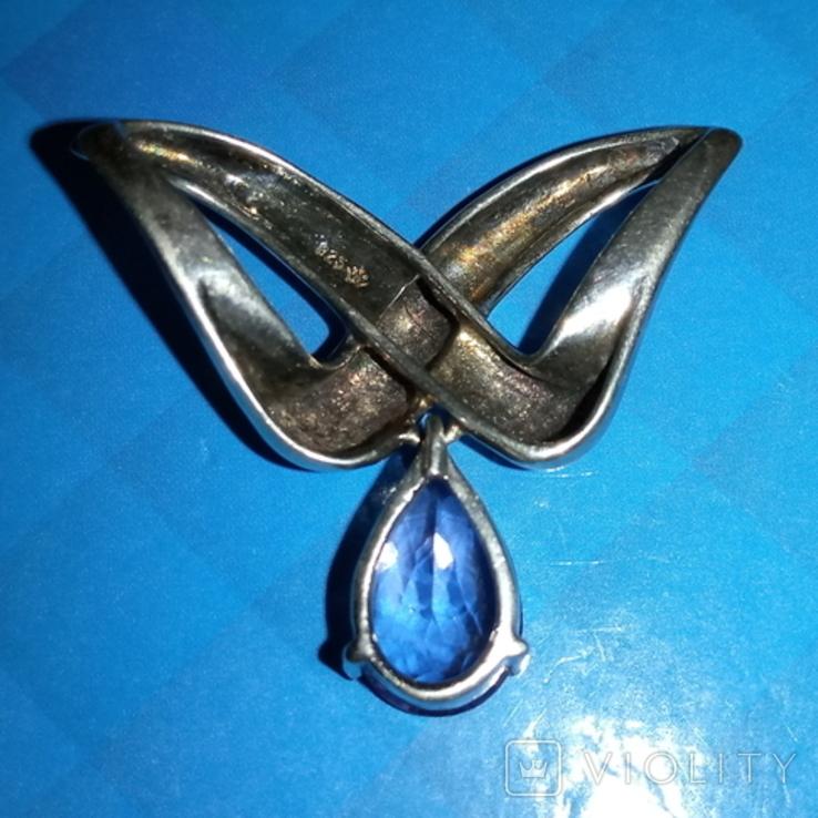 Кулон из серебра 925 пробы с натуральным аметистом винтаж, фото №3