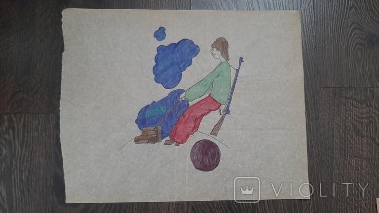 Рисунок на кальке лист дембельского альбома козак пушка ружье ядро