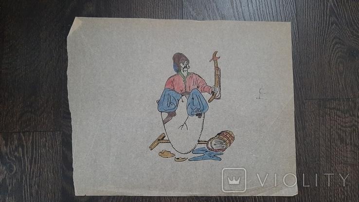 Рисунок на кальке лист дембельского альбома козак уборщик