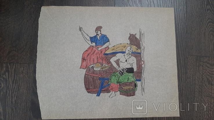 Рисунок на кальке лист дембельского альбома козак лошадь отдых