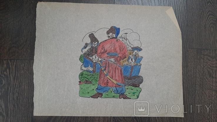 Рисунок на кальке лист дембельского альбома козак сотник учеба