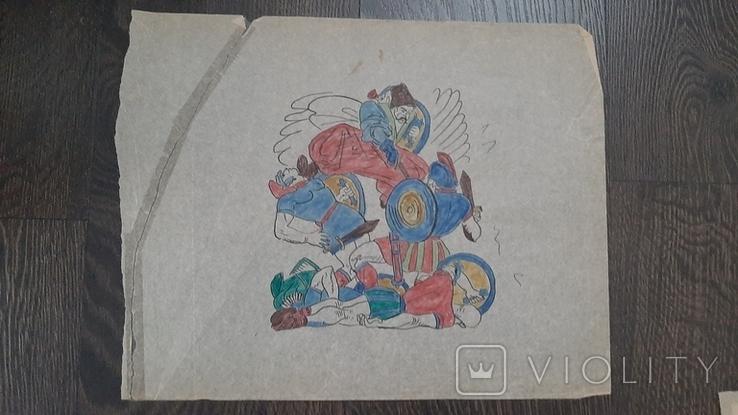 Рисунок на кальке лист дембельского альбома козак гопак битва