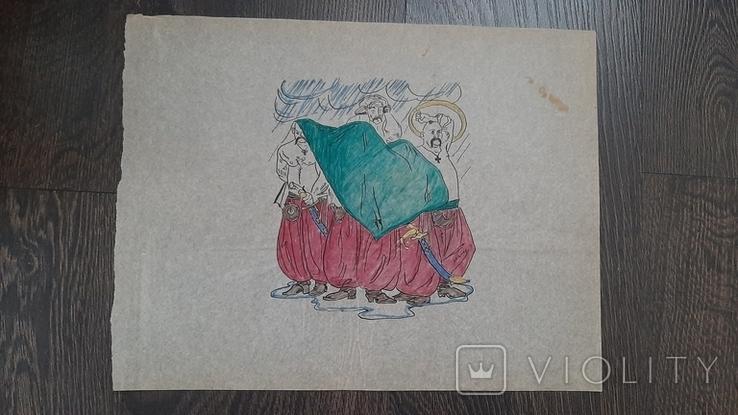 Рисунок на кальке лист дембельского альбома козак гроза дождь