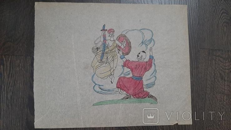 Рисунок на кальке лист дембельского альбома козак богиня