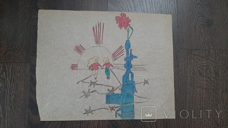 Рисунок на кальке лист дембельского альбома дети автомат сша колючка цветок