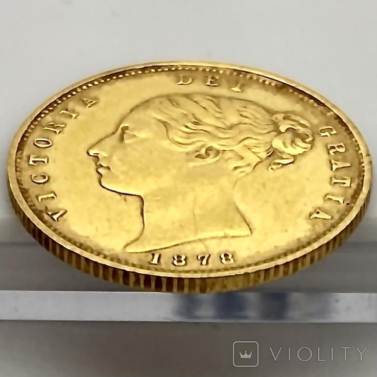1/2 соверена. 1878. Виктория. Великобритания (золото 917, вес 4,00 г), фото №12