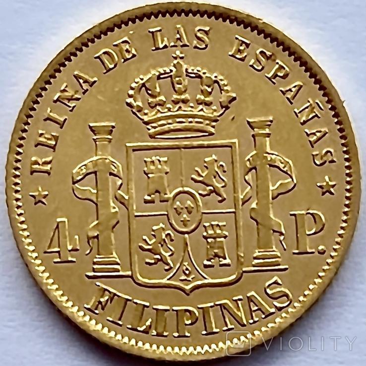 4 песо. 1868. Изабелла II. Филиппины (золото 875, вес 6,71 г), фото №4