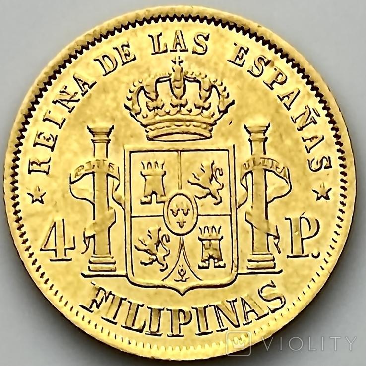 4 песо. 1868. Изабелла II. Филиппины (золото 875, вес 6,71 г), фото №6