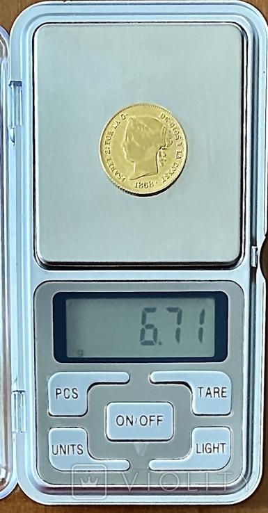 4 песо. 1868. Изабелла II. Филиппины (золото 875, вес 6,71 г), фото №12