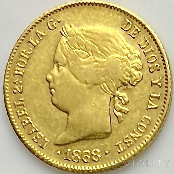 4 песо. 1868. Изабелла II. Филиппины (золото 875, вес 6,71 г), фото №2