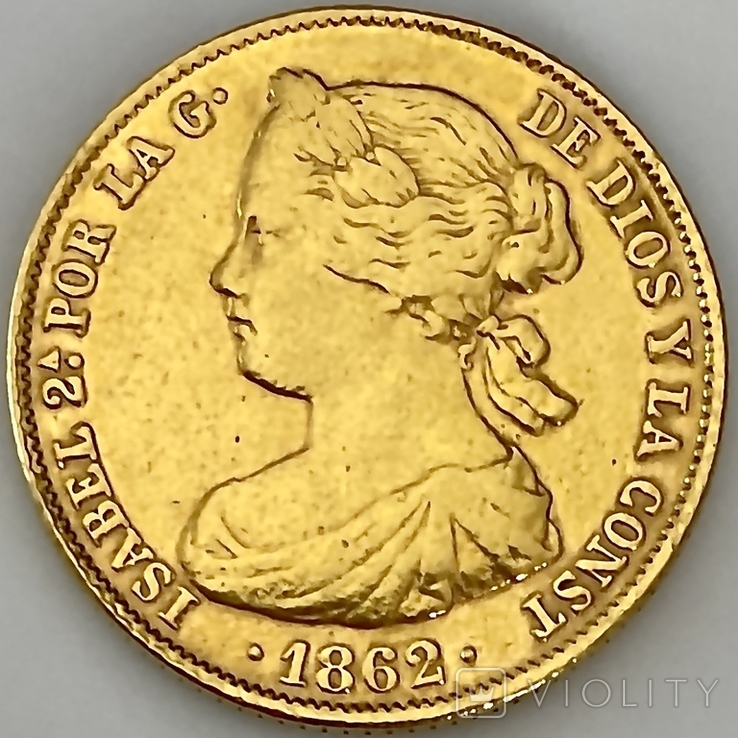 100 реалов. 1862. Изабелла II. Испания (золото 900, вес 8,35г), фото №2