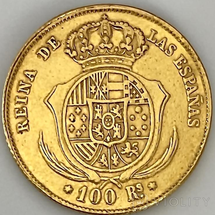 100 реалов. 1862. Изабелла II. Испания (золото 900, вес 8,35г), фото №3