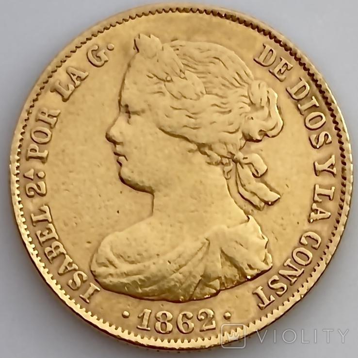 100 реалов. 1862. Изабелла II. Испания (золото 900, вес 8,35г), фото №4