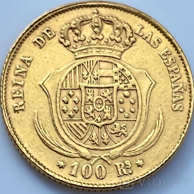 100 реалов. 1862. Изабелла II. Испания (золото 900, вес 8,35г), фото №7