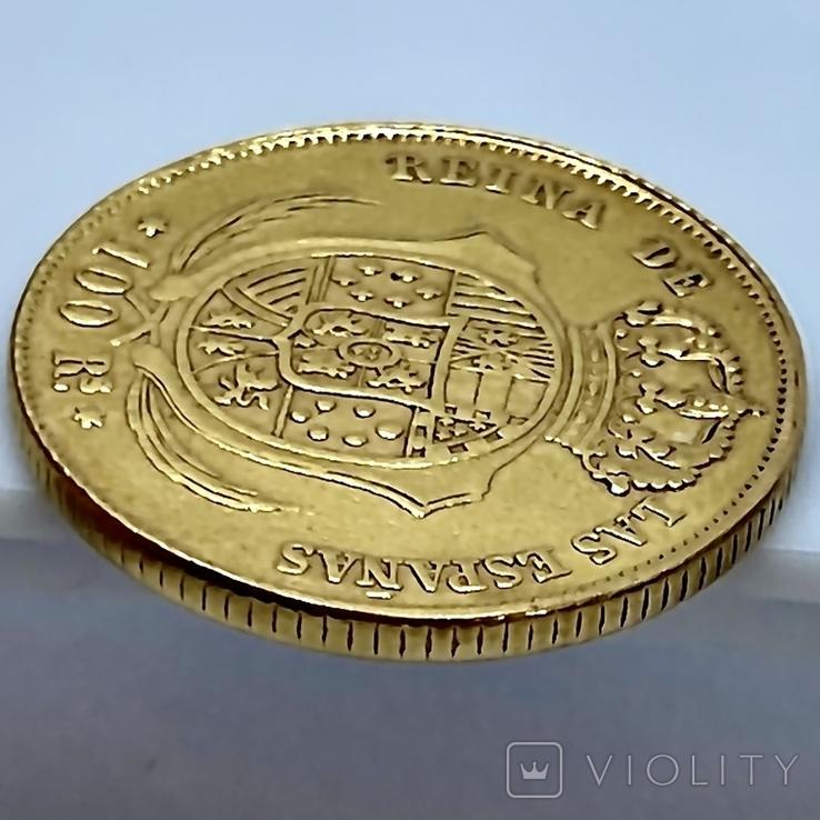 100 реалов. 1862. Изабелла II. Испания (золото 900, вес 8,35г), фото №9