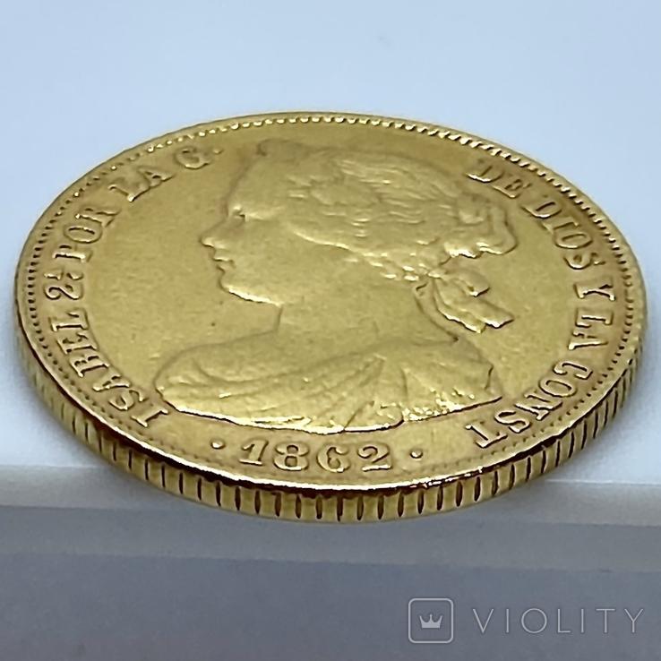 100 реалов. 1862. Изабелла II. Испания (золото 900, вес 8,35г), фото №11