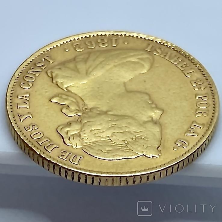 100 реалов. 1862. Изабелла II. Испания (золото 900, вес 8,35г), фото №12
