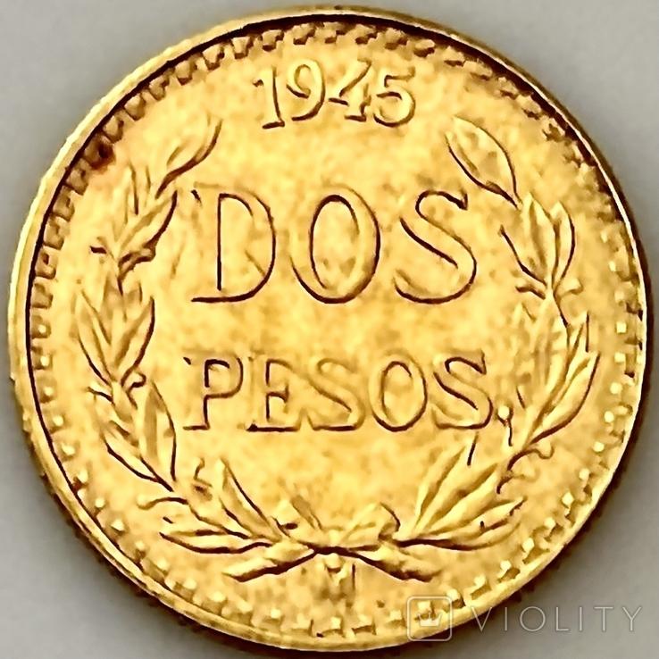 2 песо. 1945. Мексика (золото 900, вес 1,68 г), фото №5