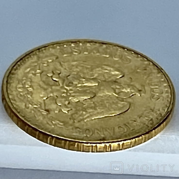 2 песо. 1945. Мексика (золото 900, вес 1,68 г), фото №9