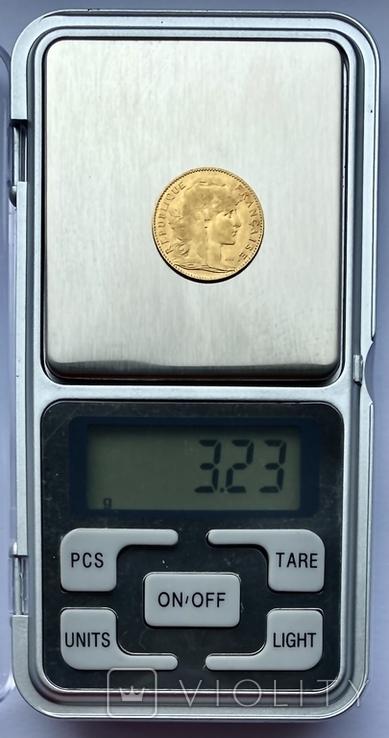 """10 франков. 1900. """"Петух"""" Франция (золото 900, вес 3,23 г), фото №8"""