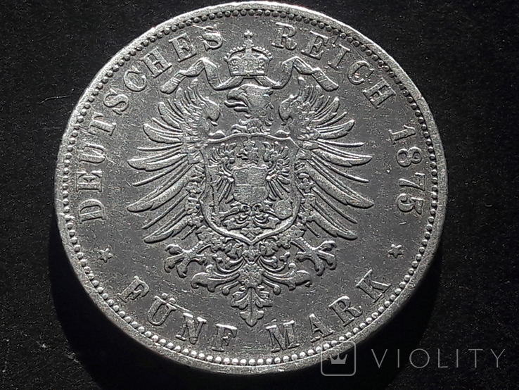 5 марок 1875 года Вюртемберг, фото №3
