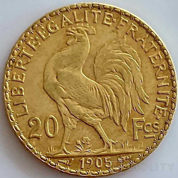 20 франков. 1905. Франция. Петух (золото 900, вес 6,45 г), фото №6