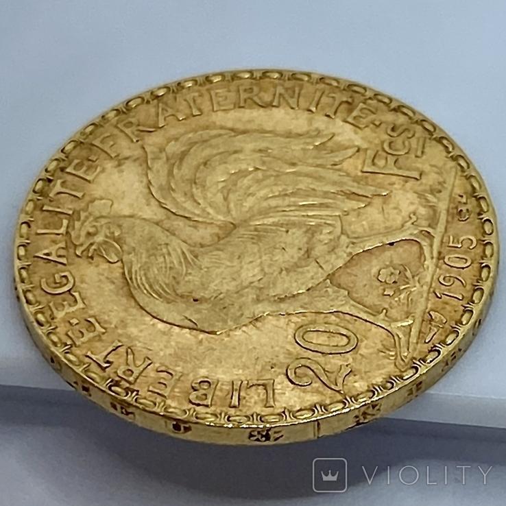 20 франков. 1905. Франция. Петух (золото 900, вес 6,45 г), фото №12