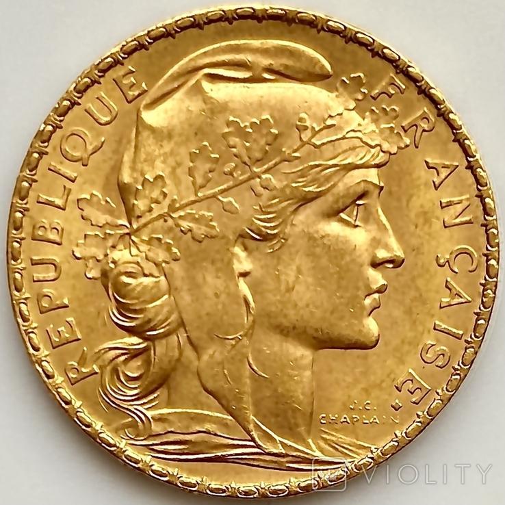 20 франков. 1906. Петух. Франция (золото 900, вес 6,46 г), фото №5