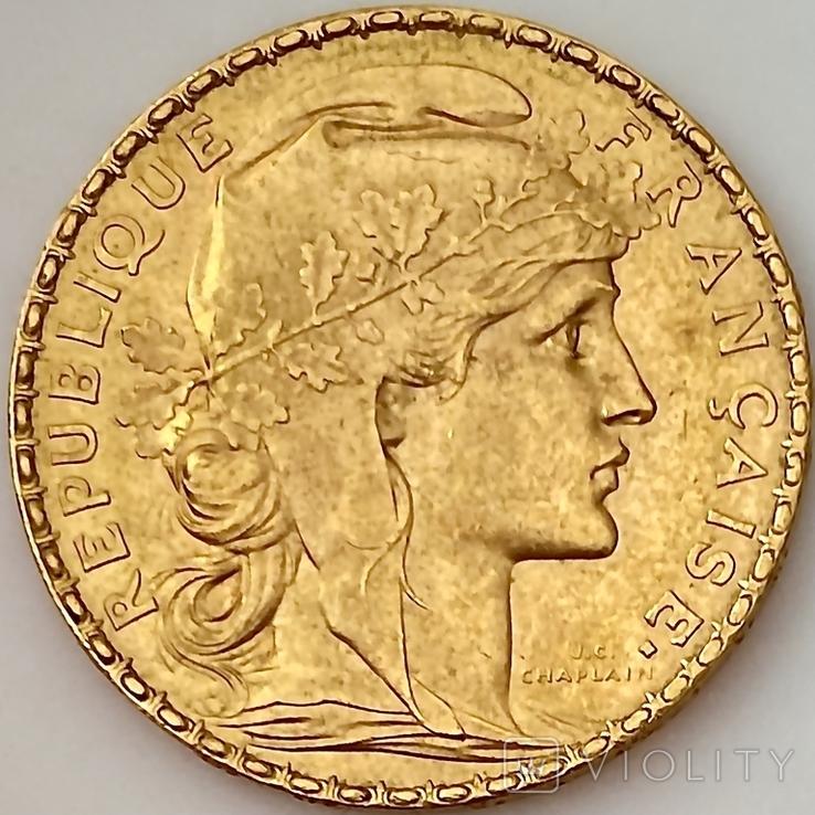 20 франков. 1906. Петух. Франция (золото 900, вес 6,46 г), фото №6